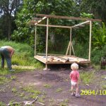 Althea overseeing work on Bamboo Hut