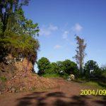 The original Hedonisia bathroom, on the slope near the future site of Kahuna Cabin