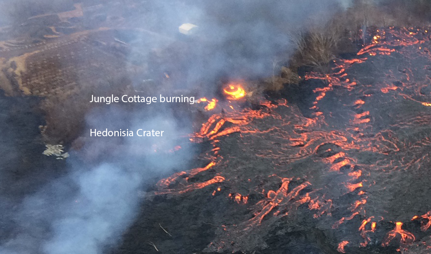 Photo courtesy of the USGS, showing the Hedonisia property being taken by lava